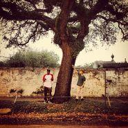 Justin Bieber touching a tree