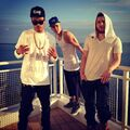 Justin Bieber with Maejor Ali and Mike Posner