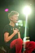 Bieber singing at MTV World Stage Live in Malaysia 2012