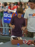Justin Bieber signing at Family Frenzy