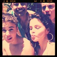 Justin swimming with friends