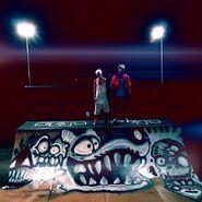 Chris Brown spray paints Justin Bieber's half-pipe