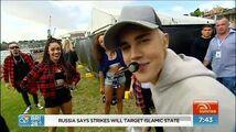 Justin Bieber Hi, mom Backstage on Sunrise on Channel 7 Sydney, Australia, September 30, 2015