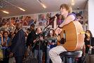 Justin Bieber performing at Nintendo World Store