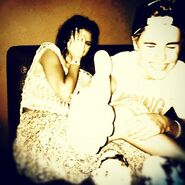 Selena Gomez and Justin Bieber laughing