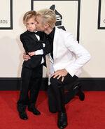 Grammys 2016 red carpet with Jaxon Bieber