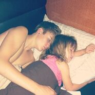 Justin sleeping with Jazzy