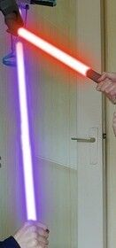 Lightknife in use against normal purple lightsaber