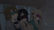 Ritsu, Mio and Mugi sleeping in the airplane