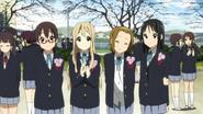 Nodoka, Mugi, Ritsu and Mio graduating