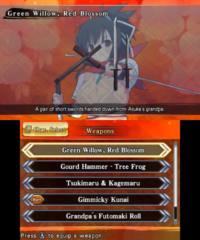 Senran Kagura 2: Deep Crimson/Weapons