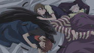 All three of them fall asleep in bed