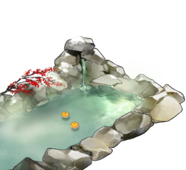 Hot spring bath+Fall