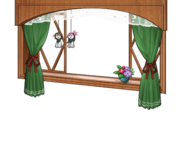 Rainy season window with green curtain