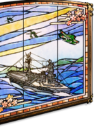 Aviation battleship stained glass