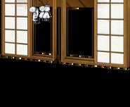 Window with Teru teru bōzu dolls