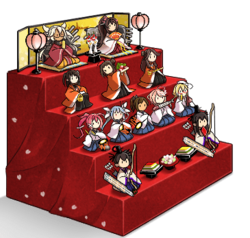 Gorgeous Hina-ningyou doll set with 4-step stand.png
