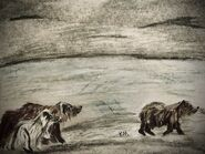 719 and her 2 yearlings June 16, 2020 pencil and chalk drawing by Kam inspired by Ranger Naomi Boak's July 15, 2020 photo