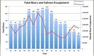 PREDATOR & PREY GRAPH BEARS vs NAKNEK RIVER SALMON ESCAPEMENT 2001 - 2016