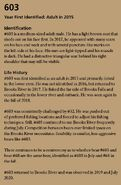 603's page in the 2021 Bears of Brooks River book page 71