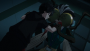 Kabane restrained by Reika (anime)