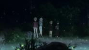Shiki, Akira, Nobimaru, and Kabane watching the fireflies (anime)