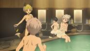 Nobimaru, Shiki, Akira, and Kabane at the bath (anime)