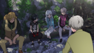 The group with Akio at the woods (anime)