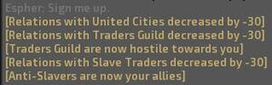 Effects of allying with Anti-Slavers on faction relations.