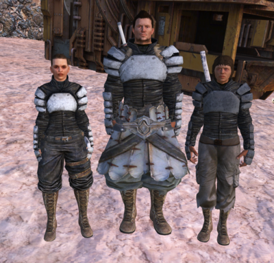 The three cosmetic variants of Plate Jackets (Left to right): White, Plain, Black