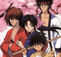 Himura Kenshin, Kamiya Kaoru, Sagara Sanosuke, and Myōjin Yahiko