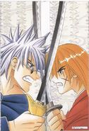 Enishi and Kenshin - Weekly Shonen Jump in 1998 No. 42 illustrations for the cover