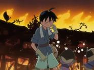 Fuyuchiku watching his home burn
