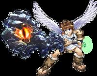 Artwork officiel de Pit équipé de la Massue minerai pour Kid Icarus: Uprising