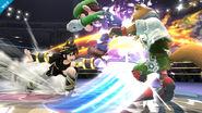 Pit Sombrio atacando a Fox y a Luigi en Super Smash Bros. para Wii U