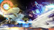 Pit y Pit Sombrio usando sus ataques laterales en Super Smash Bros. para Wii U