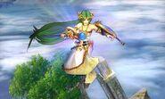 Palutena luego de usar teletransporte en Super Smash Bros. para 3DS