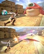 Pit atacando a Netora en Kid Icarus Uprising