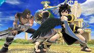 Pit Sombrio, Magno y Palutena en el Templo de Palutena Super Smash bros. para Wii U