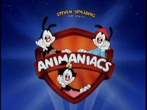 Yakko, Wakko and Dot and Pinky and the Brain with the Animaniacs logo.