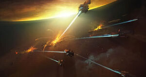 Helghan Fleet attacking ISA ships.