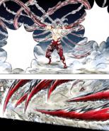 Muzan flailing his tendrils towards the Hashira