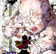 Muzan transforming into an infant colored CH199