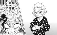Zenitsu seeks encouragement from Jigoro as he fights