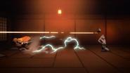 Zenitsu using Thunderclap and Flash on Tongue Demon