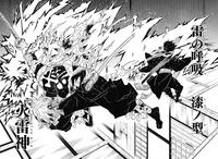 Zenitsu using Thunder Breathing Seventh Style Flaming Thunder God to decapitate Kaigaku.png