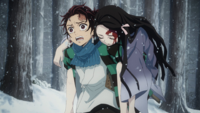 Tanjiro carrying a wounded Nezuko.png