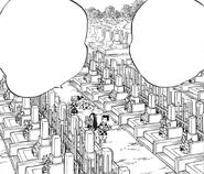 Tanjiro, Nezuko, Zenitsu, and Inosuke bring flowers to the graves CH204