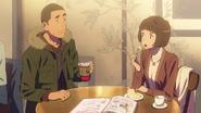 Tessie and Sayaka at a coffee restaurant