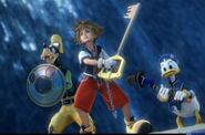 Sora, donald y goofy en el opening de kingdom hearts 2